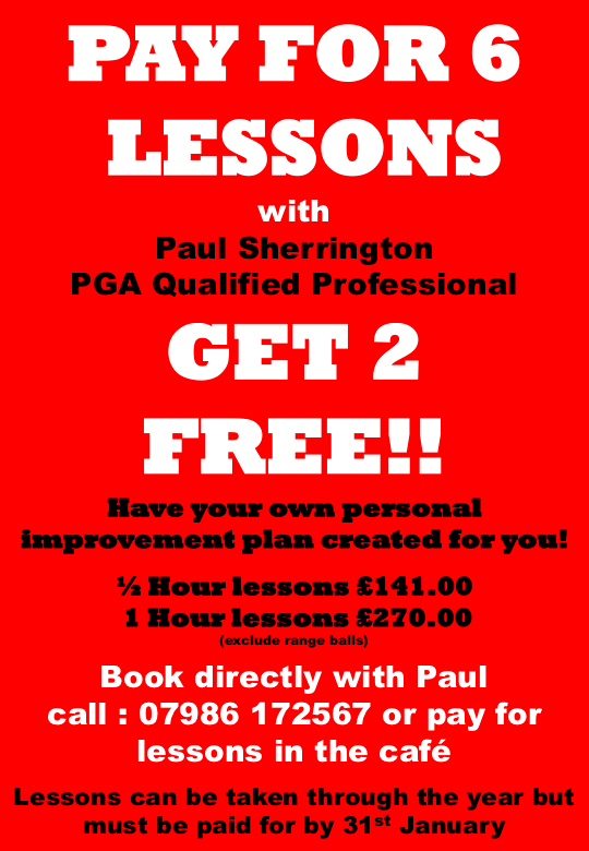 2020 red Paul Sherrington pay for 6 lessons get 2 free
