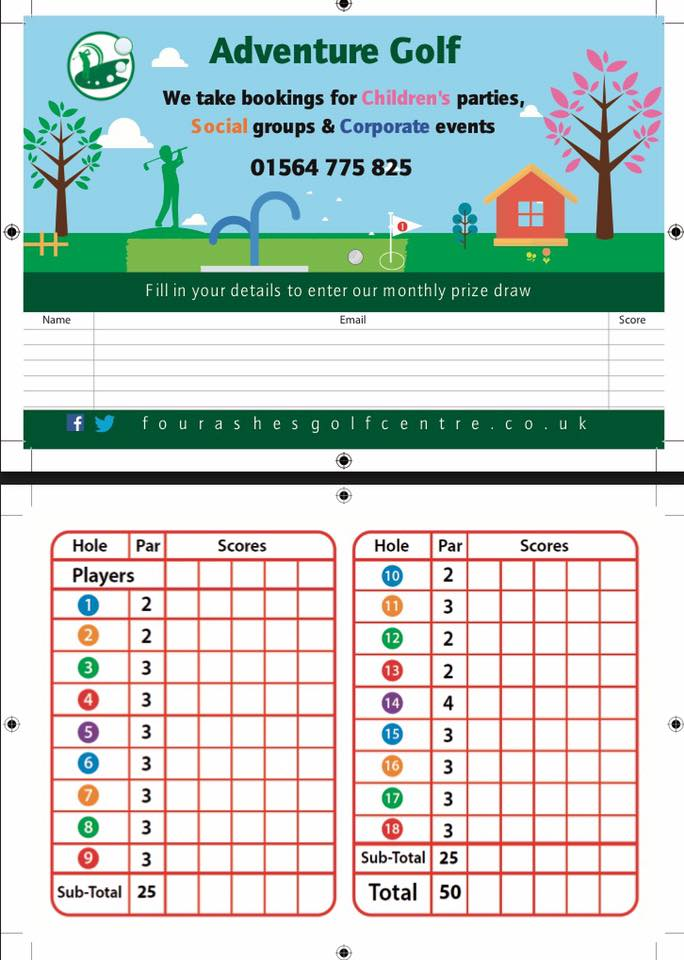Winning Scorecard On Adventure Golf Course Four Ashes Golf Centre