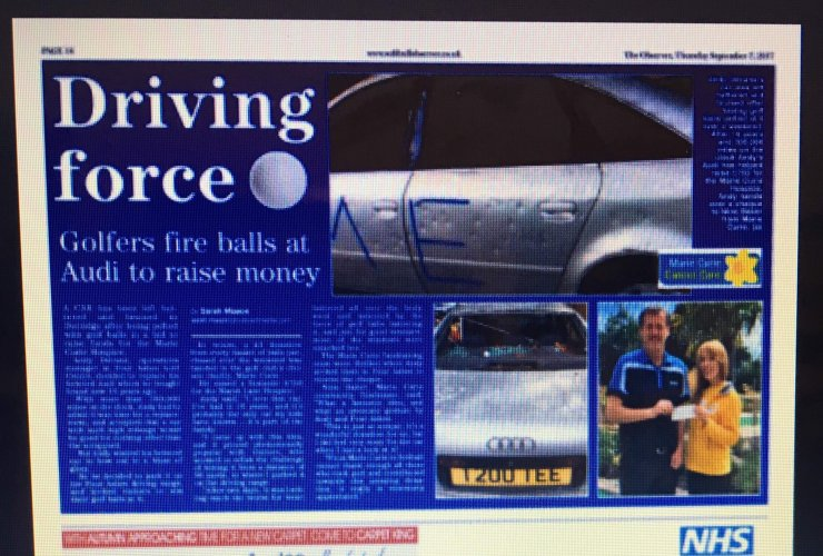 Andy's battered Audi makes the news!