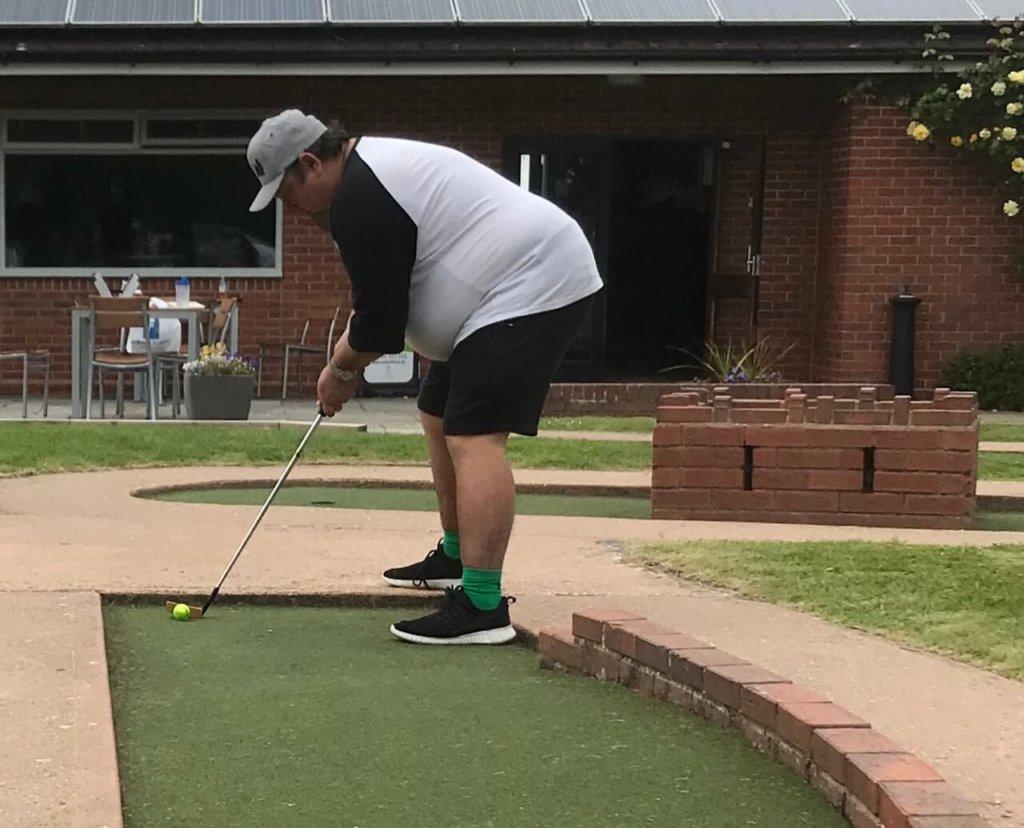 Scott Lancley on the mini golf course